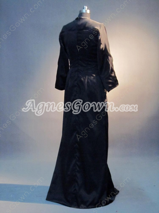 Mature Long Sleeves Black Mother Of The Bride Dress