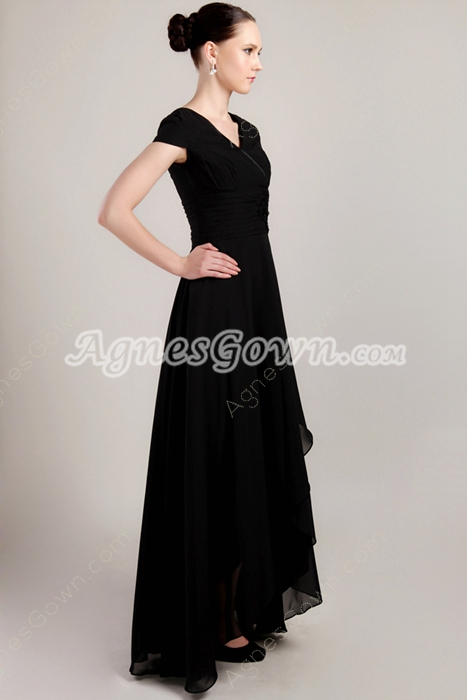 V-Neckline Cap Sleeves Black Chiffon Mother Dress Asymmetrical Hem