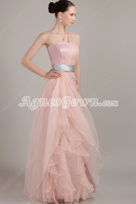 Noble One Shoulder Puffy Floor Length Dusty Rose Quinceanera Dress