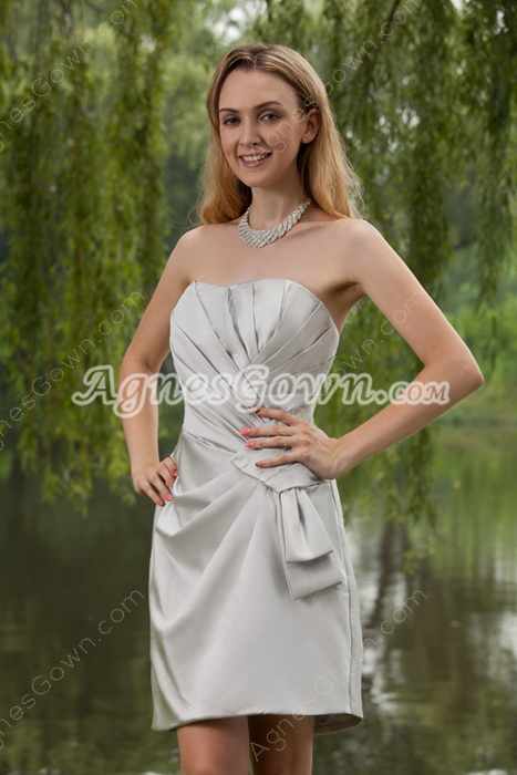 Silver Satin Wedding Guest Dresses With Ruched Bodice