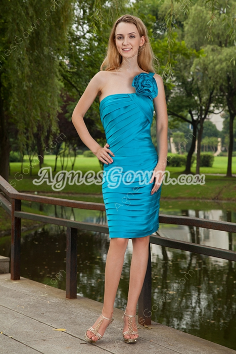 Turquoise Sheath Knee Length Wedding Guest Dress Full Pleated Bodice