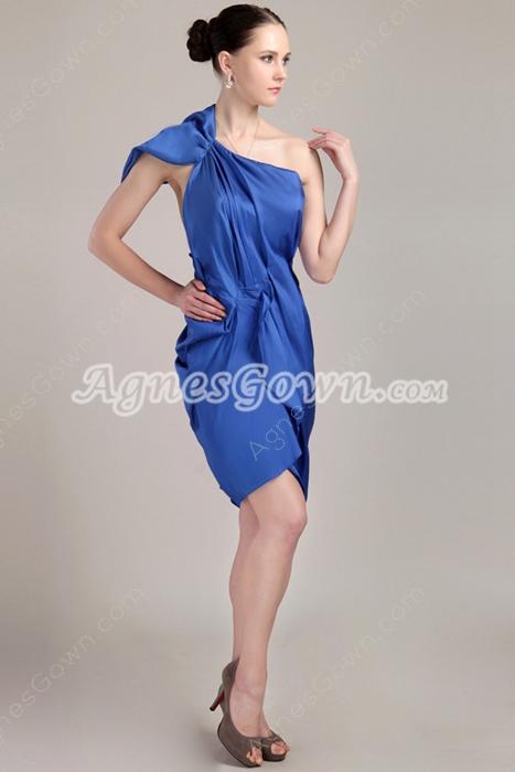 Open Back One Shoulder Sheath Royal Blue Wedding Guest Dress