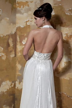 Sexy Top Halter A-line Satin Open Back Wedding Dress
