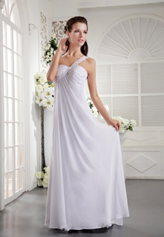Empire Full Length White Chiffon One Shoulder Summer Beach Wedding Dress