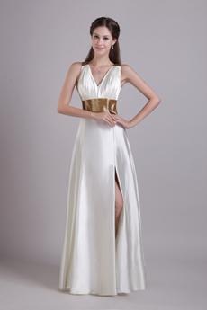 Hot Crossed Straps Back Ivory Wedding Dress Front Slit