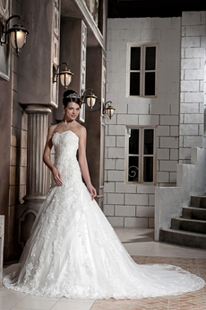 Magnificent Dropped Waist Ball Gown Lace Wedding Dress