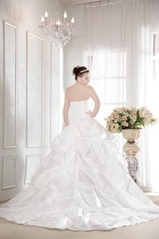Romantic Taffeta Strapless Pick up Corset Ball Gown Wedding Dress