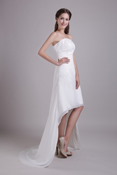 Strapless Chiffon High Low Wedding Dress With Beads