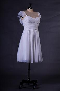 Cap Sleeves Mini Length Ivory Chiffon Beach Wedding Dress