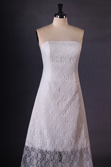 Strapless Column High Low Hem Lace Boho Wedding Dress