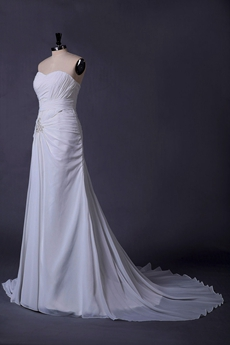 Corset Back A-line Ivory Chiffon Destination Wedding Dress