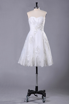 Knee Length Dipped Neckline Knee Length Beach Wedding Dress