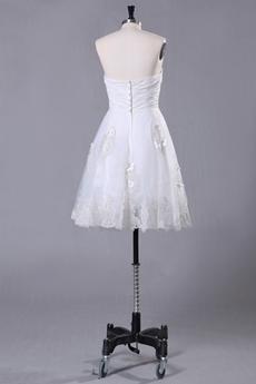 Knee Length Dipped Neckline Knee Length Beach Wedding Dress