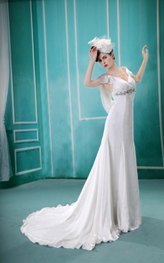 Scoop Back Cap Sleeves Chiffon Beach Wedding Gown