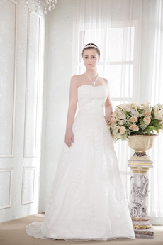 Sweetheart A-line Organza Wedding Dress With Lace Appliques