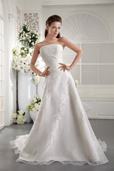 Impressive A-Line Organza Embroidery Wedding Dress