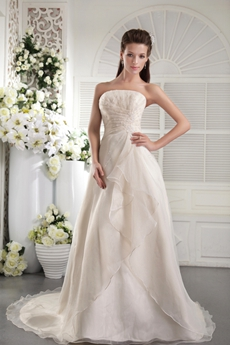 Modest strapless A-line Ivory Organza Wedding Dress