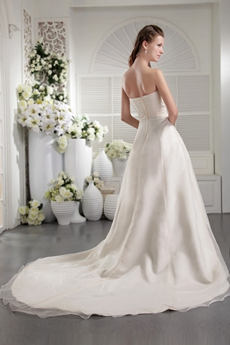 Modest strapless A-line Ivory Organza Wedding Dress
