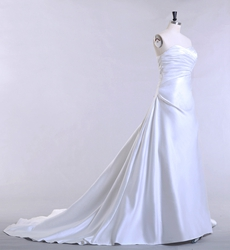 Simple Sweetheart Satin Material Wedding Dress Corset Back