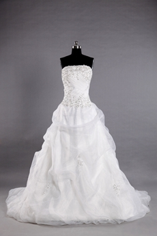 Puffy Organza Floor Length Wedding Dress With Lace Appliques