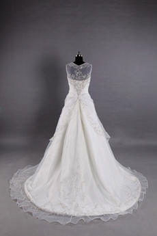 Double Straps Embroidery Wedding Dress Ivory