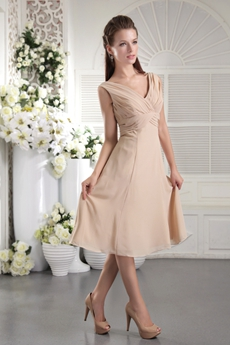 Modest V-Neckline Column Tea Length Champagne Wedding Guest Dress