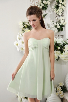 Empire Mini Length Sage Colored Chiffon Junior Bridesmaid Dress