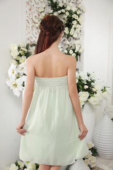 Empire Mini Length Sage Colored Chiffon Junior Bridesmaid Dress