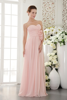 Delicate Pink Chiffon Bridesmaid Dress With Handmade Flower
