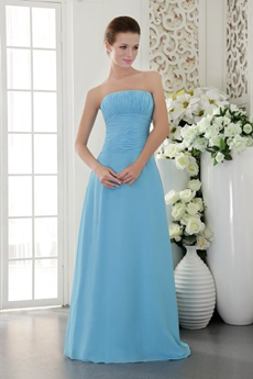Simple Column Full Length Sky Blue Bridesmaid Dress