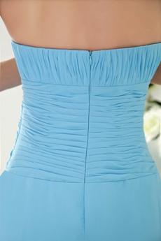 Simple Column Full Length Sky Blue Bridesmaid Dress