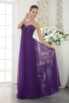 Sweetheart Column Full Length Purple Bridesmaid Dress