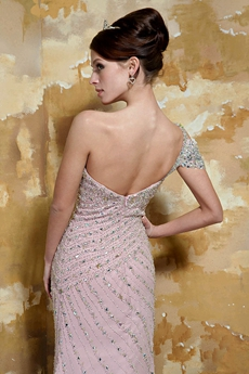 One Shoulder Short Sleeves Sheath Pink Celebrity Dress With Heavy Handwork