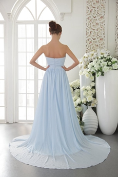 Dipped Neckline A-line Light Sky Blue Chiffon Prom Dress 2016