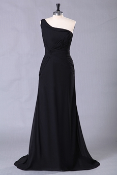 One Shoulder A-line Full Length Black Prom Dress