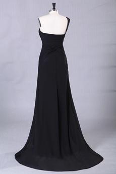 One Shoulder A-line Full Length Black Prom Dress