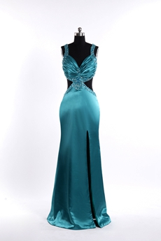 Teal Blue Slit Front Informal Evening Gown