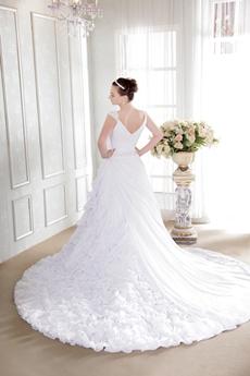 Luxury Chiffon Ruffled Wedding Dress V-Back