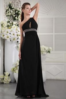 One Shoulder A-line Black Chiffon Evening Gown Cut Out