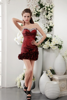 Sheath Mini Length Burgundy Cocktail Dress