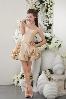 Spaghetti Straps Puffy Mini Length Champagne Taffeta Cocktail Dress