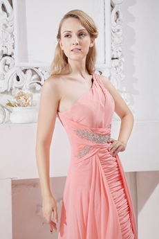 Unique One Shoulder Coral Chiffon High Low Prom Gown