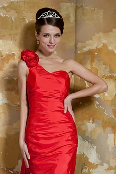 Modern Sheath Mini Length One Shoulder Red Cocktail Dress With Ribbon