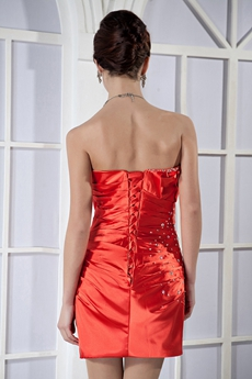 Sweetheart Column Mini Length Burnt Orange Cocktail Dress
