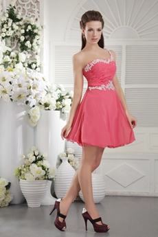 Lovely One Shoulder Mini Length Peach Colored Cocktail Dress