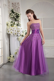 Beaded Bust Strapless Puffy Lilac Quinceanera Dress