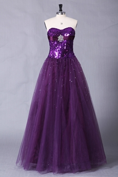 Sparkled Bodice Floor Length Purple Princess Quinceanera Dress