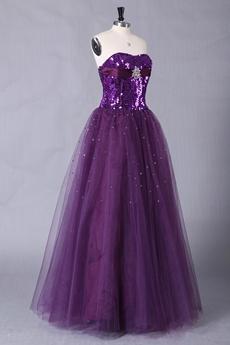 Sparkled Bodice Floor Length Purple Princess Quinceanera Dress