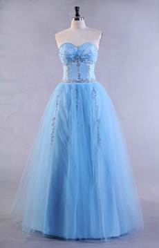 Embroidery Blue Tulle Quinceanera Dress Corset Back