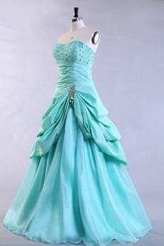 Cute Dipped Neckline Puffy Tiffany Blue Quinceanera Dress